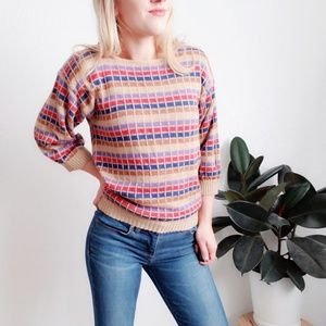 Vintage Checked Block 436 Dolman Crew Neck Sweater